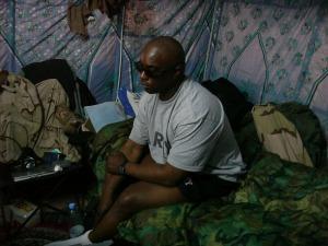 True_George in his tent sleeping space