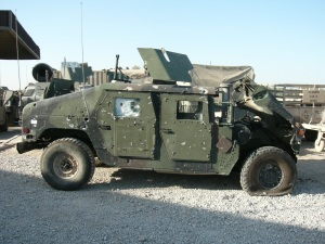Sgt. Fields vehicle that was damaged by a powerful I.E.D