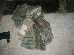 Spec. Monciglio's blood stained body armor