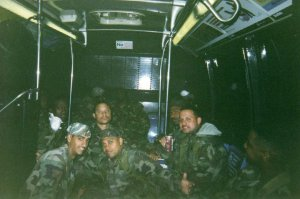 Member of C-Battery 258FA aboard bus Transport to Ground Zero